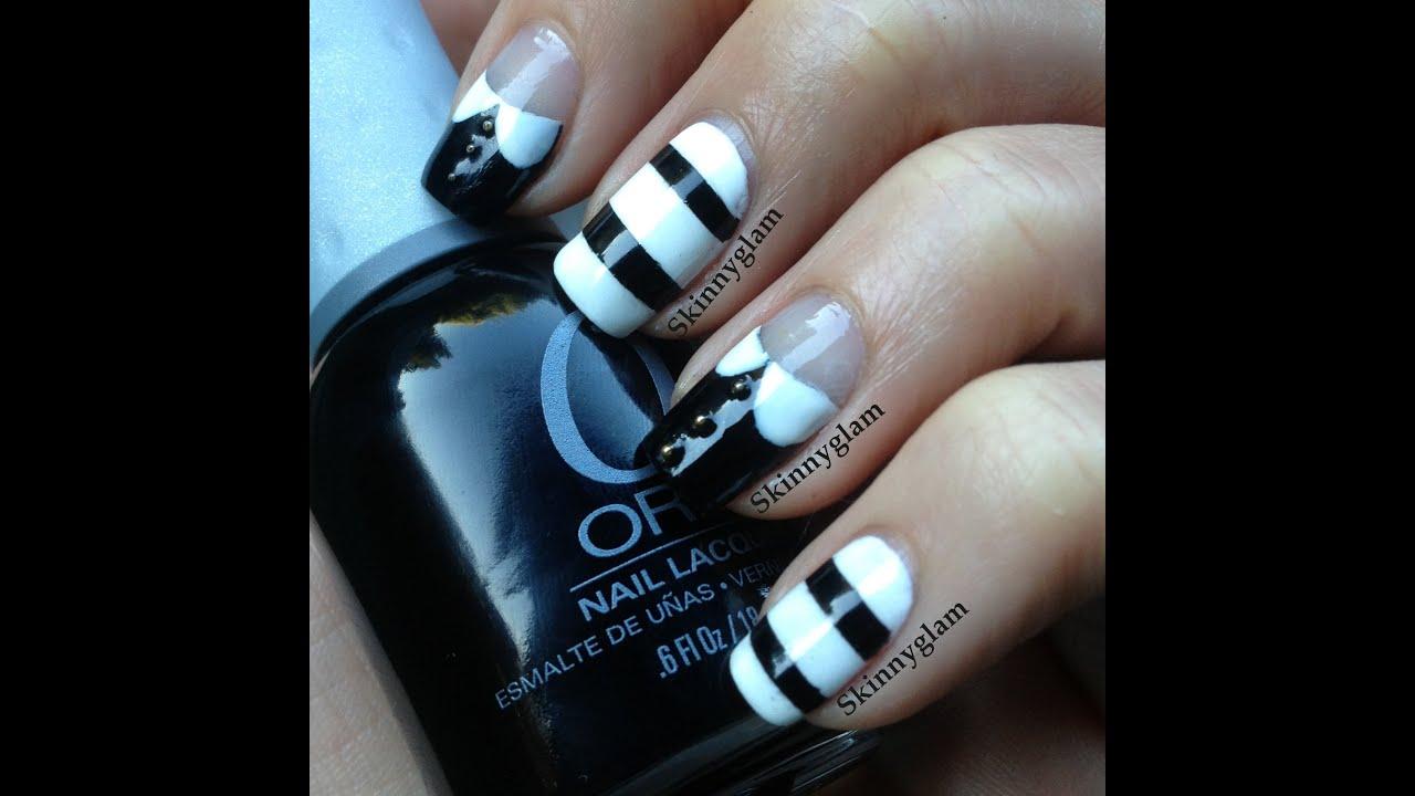 The Adams Family nail art tutorial - Wednesday & Pugsley - YouTube