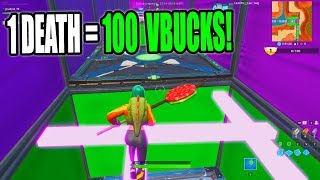 1 DEATH = 100 VBUCKS CHALLENGE! 50 Level Default Deathrun (Creative Fortnite)