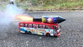 Rocket powered Toy Bus !! Amazing Ride