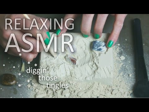 ASMR Excavation, digging for gems (🎧 no talking, brushing, p