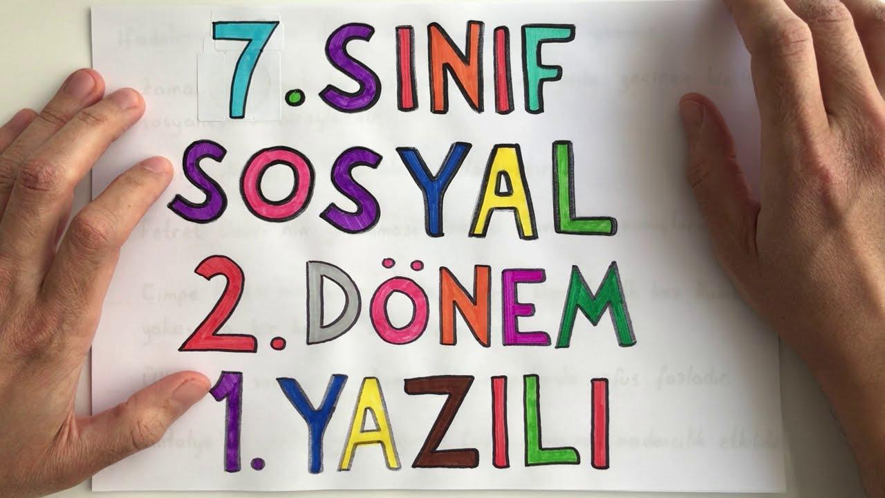 7. Sınıf Sosyal Bilgiler 2. Dönem 1. Yazılı