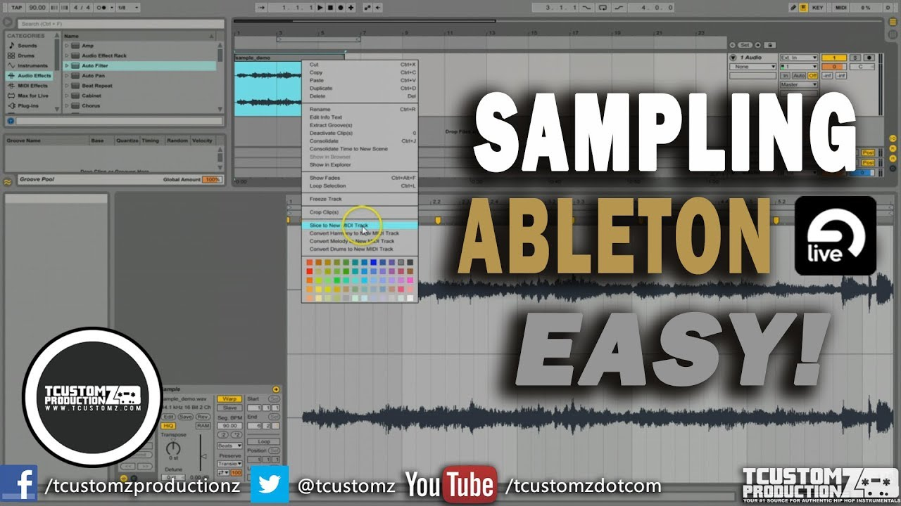 How To Sample in Ableton Live 9 Tutorial (EASY) Part 1 | Sampling, Slicing  Samples