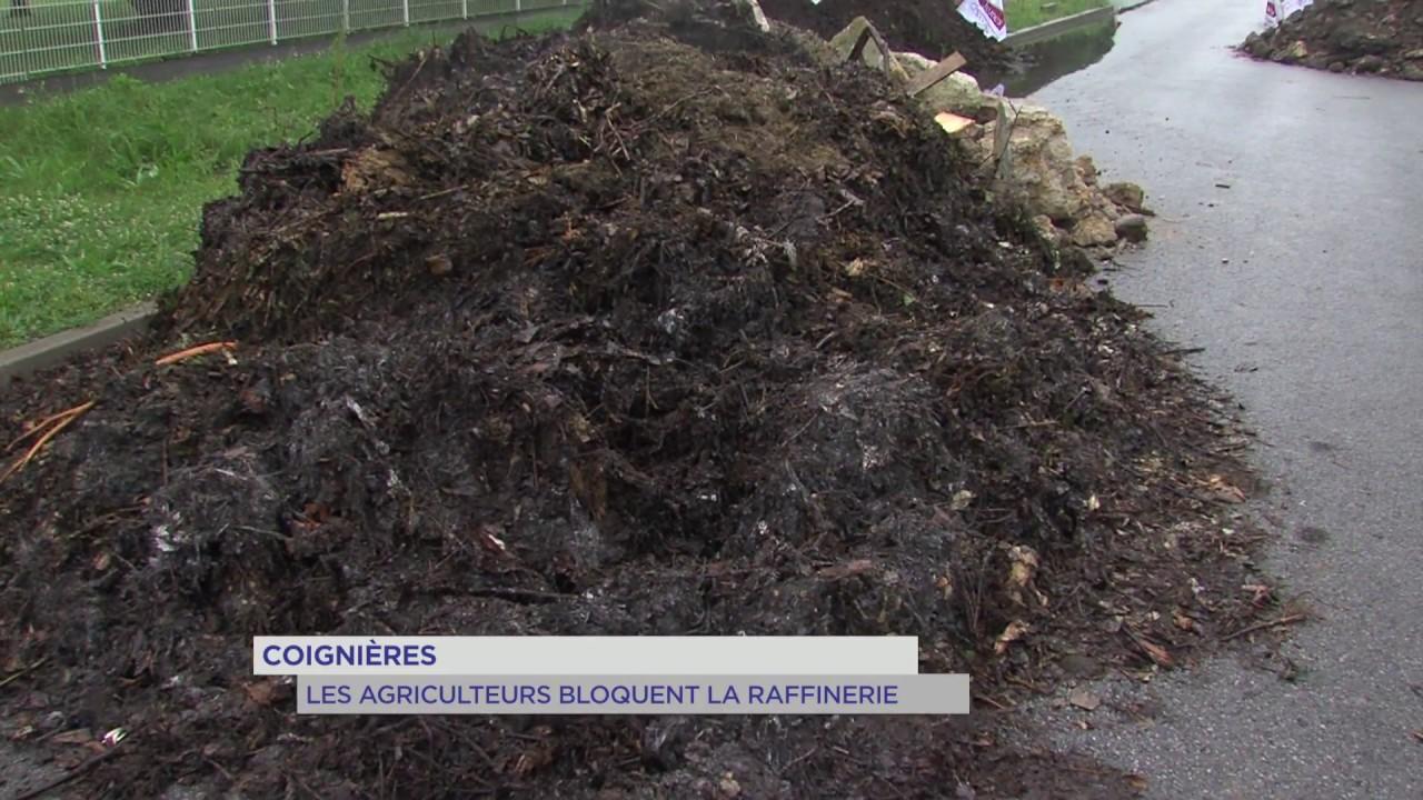 Coignières : les agriculteurs bloquent la raffinerie