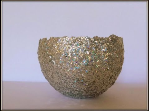 Tutorial diy home decor glitter bowl using glitter modge for Glitter balloon bowl