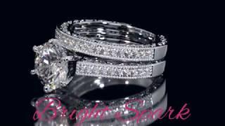 Свадебный комплект колец с муассанитами на 3 карата Loretta от Bright Spark