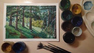 Рисуем сосновый лес(гуашь)для начинающих