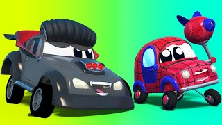 HALLOWEEN: VAMPIRE scares GHOST, SHARK and SPIDERMAN cars | Super Truck | Car City World App