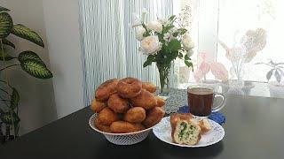 Кефирное тесто. Жареные пирожки с адыгейским сыром и зеленью.