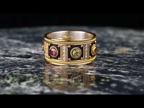 Diamond Columns Black Gold Band Ring