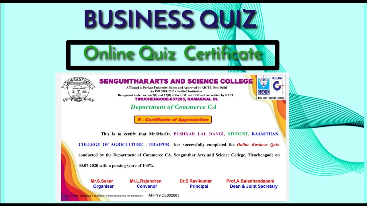 BUSINESS QUIZ  CERTIFICATE - Organised by Department of Commerce CA #OnlineQuizCertificate
