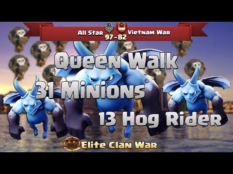 P1/2 All Star vs VietNam War | Queen Walk + Hogs, Miner, BowWitch | 3 Stars War TH11 | ClanVNN #399