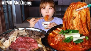 ASMR Mukbang|Eating tuna kimchi jjigae stew and Korean stir fried beef, bulgogi.