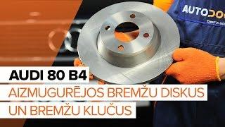 Kā nomainīt AUDI 80 B4 aizmugures bremžu diski un aizmugures bremžu kluči [PAMĀCĪBA]