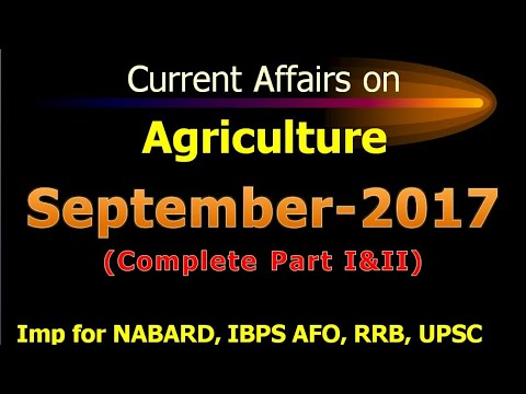 Current Affairs on Agriculture- September 2017