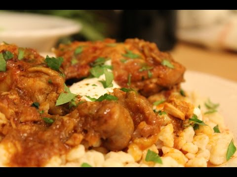 Easy Homemade Hungarian Chicken Paprikash - a Complete Meal with Nokedli and Cucumber Salad