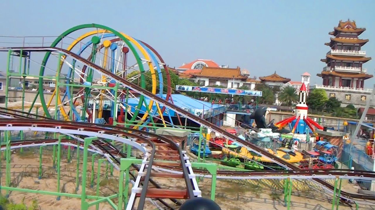 Chinese Knock Off Wild Mouse Roller Coaster Pov With