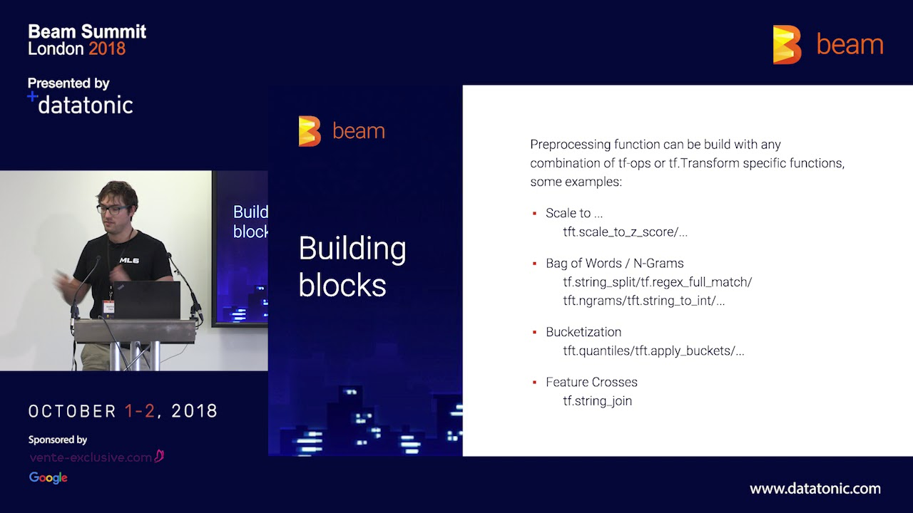 Beam Summit London 2018 - Pre-processing for TensorFlow pipelines with  Apache Beam & tf Transform