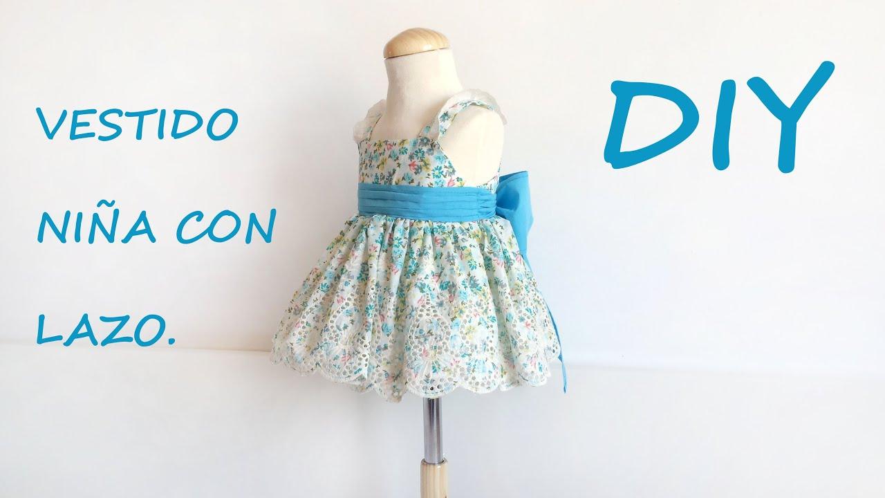 Como hacer un vestido niña con lazo. Patrón vestido de niña. - YouTube
