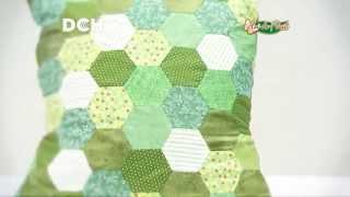 Funda de almohadón con patchwork inglés (técnica de hexágonos)