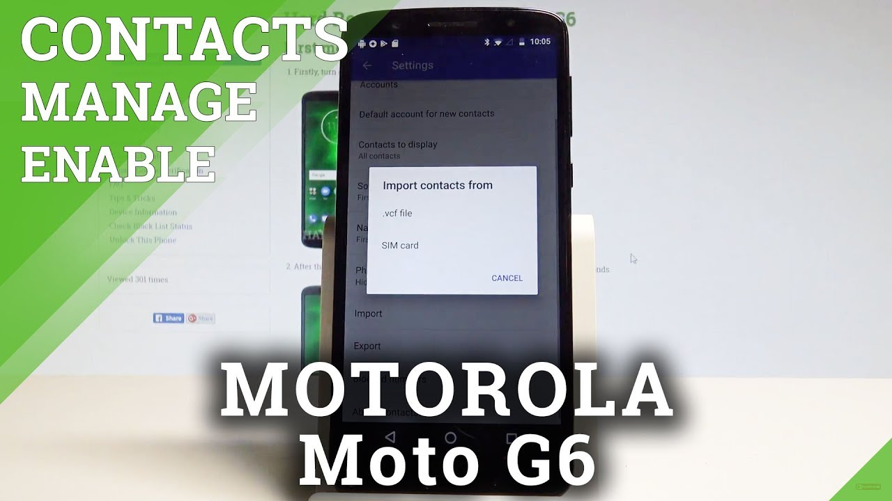 How to Move / Manage Contacts in MOTOROLA Moto G6 - Import / Export  Contacts |HardReset Info
