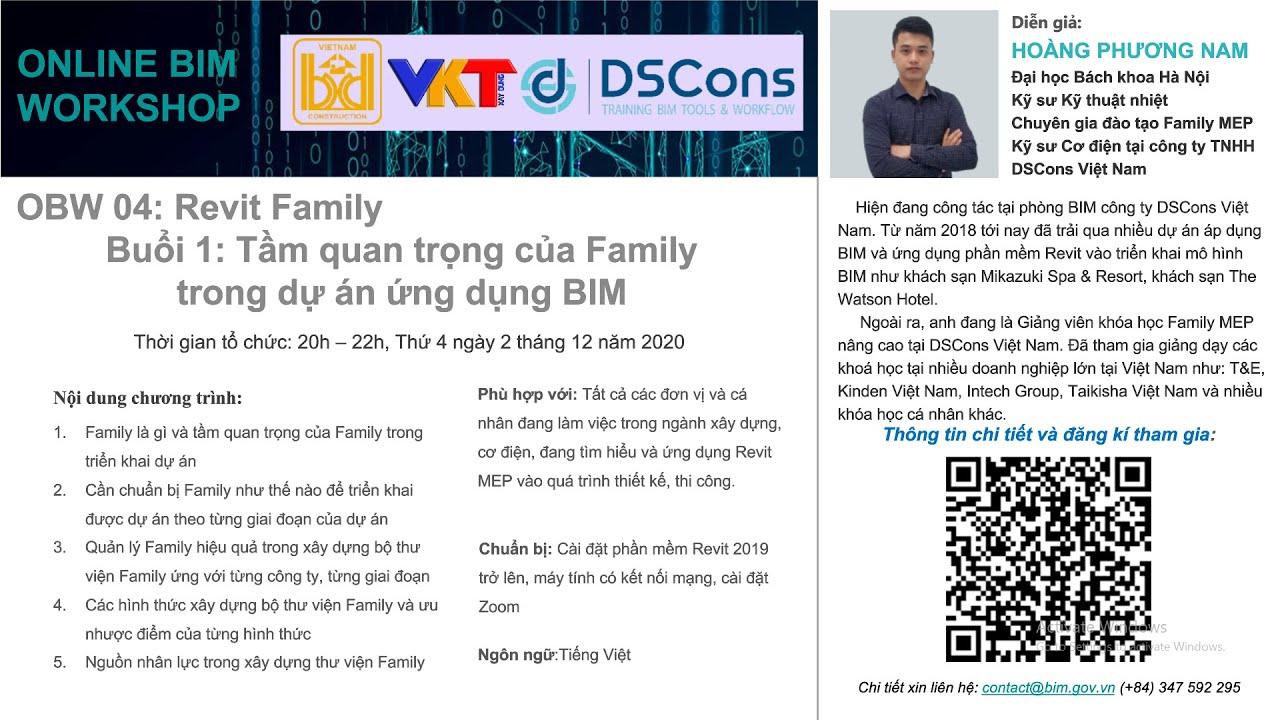 Online BIM Workshop 04: Revit Family – Buổi 1: Tầm quan trọng của Family trong dự án ứng dụng BIM