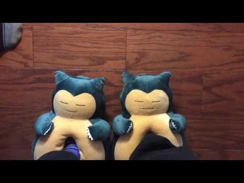 Pokemon Snorlax Slippers on Foot!  They Snore!!!