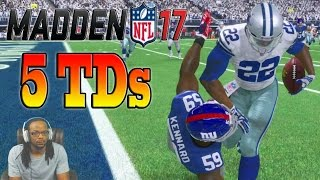 Madden 17 career mode ep 4  - nfl record 5 rushing touchdowns & 317 rushing yards!