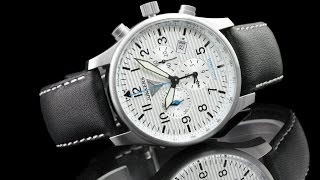 Junkers 6684-1 Hugo Junkers Series 42mm German Made Swiss Alarm Chronograph Leather Strap Watch