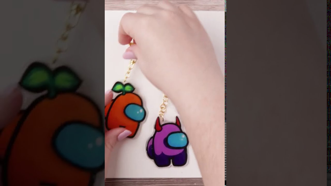 Making Orange, Purple and Cyan Keychains from Among Us with Posca Pens