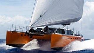 Sailing CATAMARAN in the ROUGH SEA