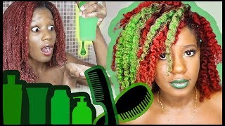 ONLY **GREEN** CAN TOUCH MY HAIR for 48 Hours!! Wash + Style CHALLENGE