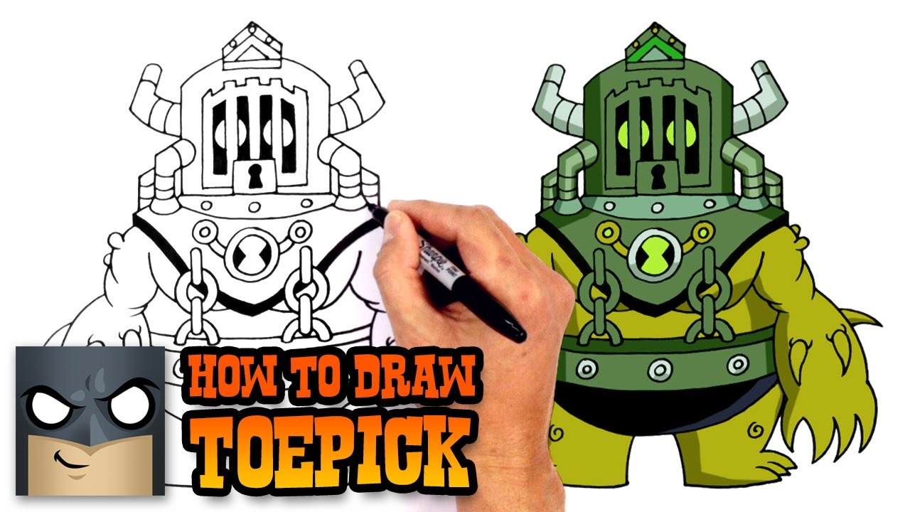 How To Draw Toepick Ben YouTube - 10 famous cartoons characters drawn 10 different cartoonists