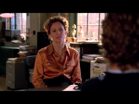 Leslie Hope: The Mentalist 1x07 Seeing Red Orange Satin Blouse