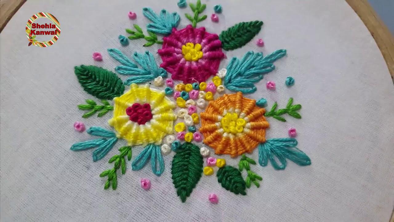 Diy Beautiful Spider Web Stitch Hand Embroidery Design Unique