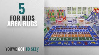 Top 10 For Kids Area Rugs [2018 ]: Ottomanson Jenny Collection Light Blue Frame with Multi Colors