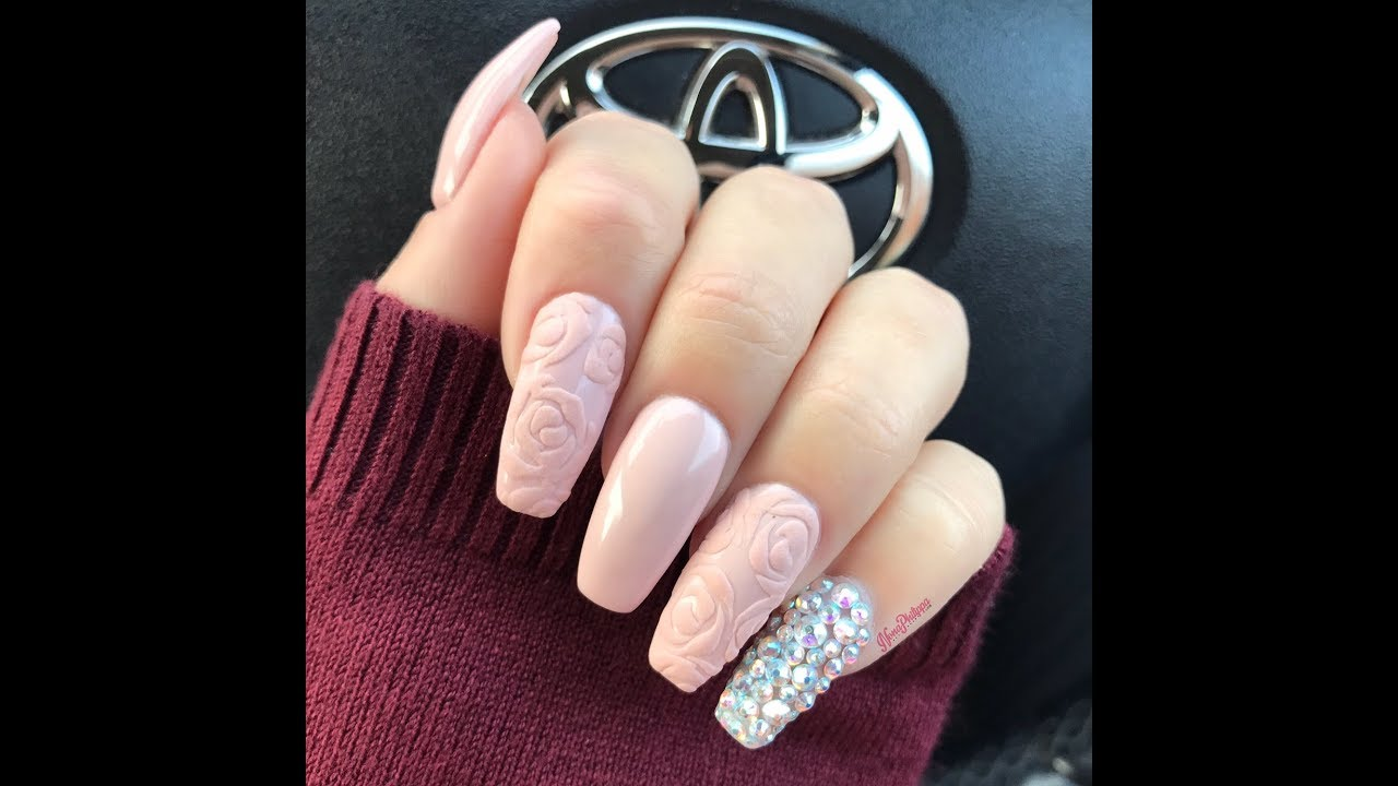 How To Do Matte 3d Rose Nail Art Tutorial Youtube