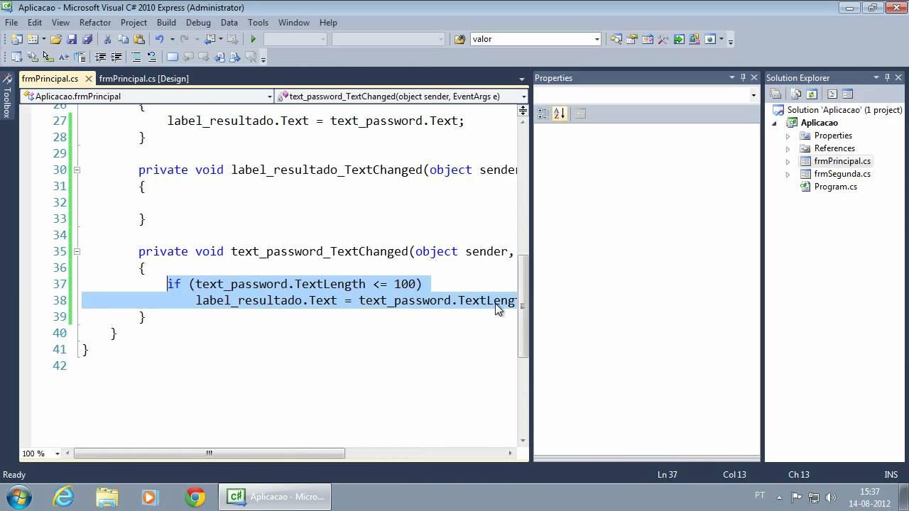 212 TextBox Eventos TextChanged, KeyDown, KeyPress