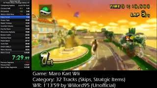 (WR)MKWii 32 Tracks Speedrun - 1'12'43 (Skips, Strategic Items)