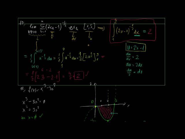 Helyettesítés és görbék által közbezárt terület - Megoldások 5