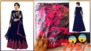 EMBROIDARY Womens Banglori Silk Blue Semi-Stiched Anarkali Gown