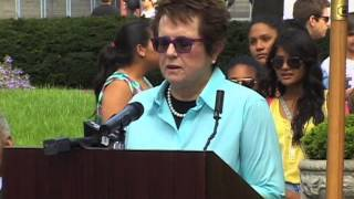Tennis Legend Billie Jean King Serves Up Althea Gibson Stamp at US Open's Court of Champions
