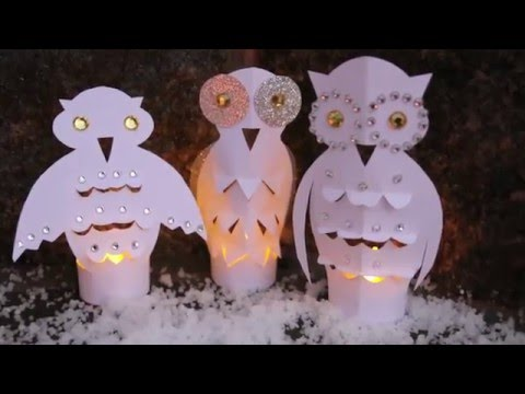 Paper Owl Votives/Night Lights - How to make an Owl