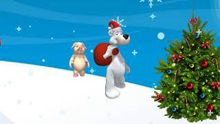 Мультяшки идут встречать Новый год Свиньи  Новогодний футаж