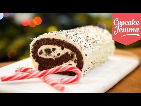 Make Mint Choc Chip Christmas Yule Log | Cupcake Jemma Pictures
