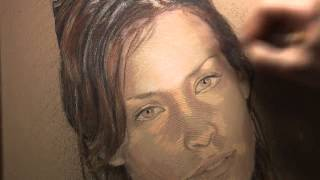 Time Lapse painting of Evangeline Lilly in acrylic paint and colored pencil