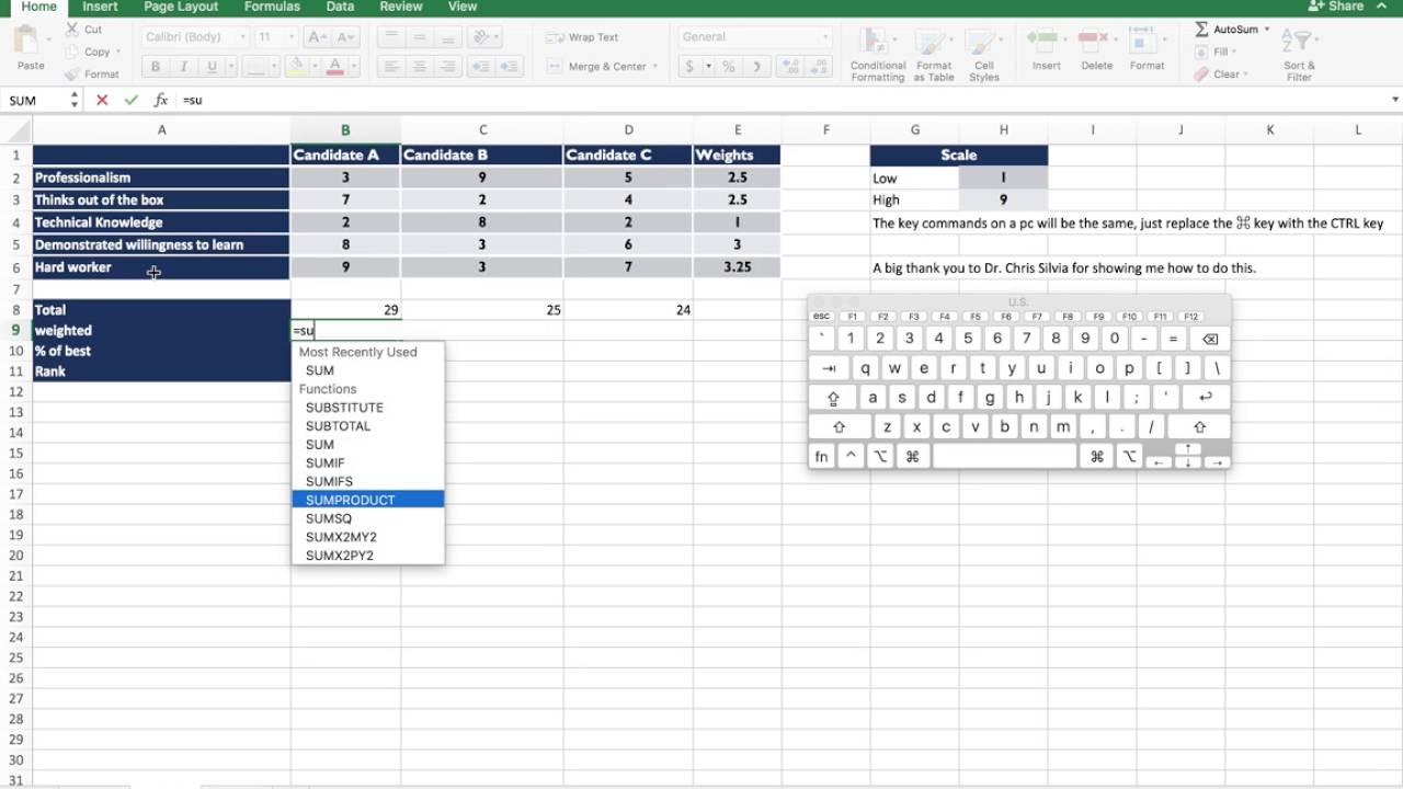 Basic Scoring Method Using Excel