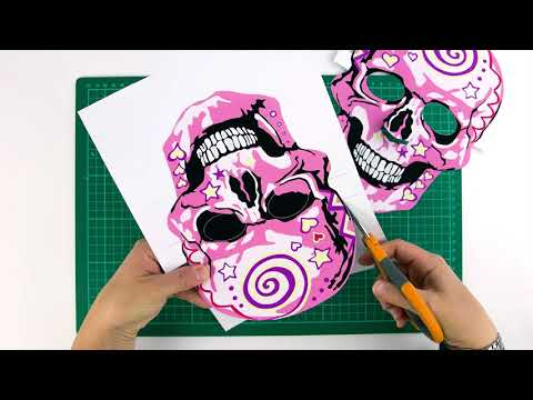 Paper skull mask activity for adult and kid to make together