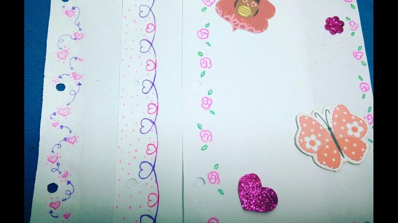 M rgenes para tus cuadernos d a del amor y la amistad for Decoraciones para hojas