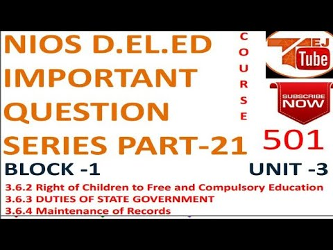 NIOS D.EL.ED IMPORTANT QUESTION SERIES PART-21 Free Online Education Books College Degree |TEJ TUBE