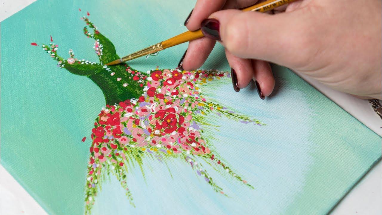 Painting Acrylic Flowers Youtube